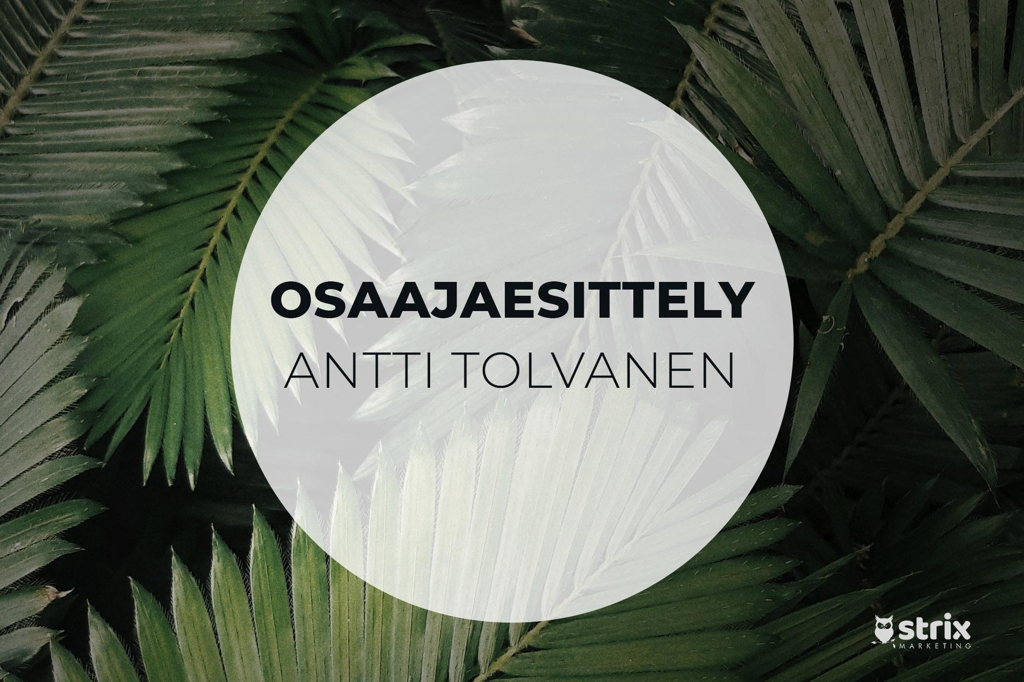 Osaajaesittelyssä Antti-Tolvanen