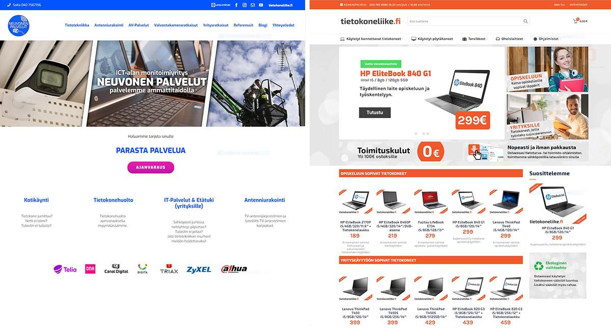 Verkkosivut: Neuvonen Palvelut Oy ja Tietokoneliike.fi