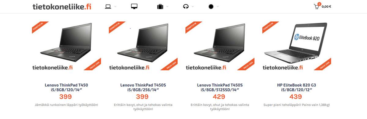 Tietokoneliike.fi-sivujen tuotenäkymä
