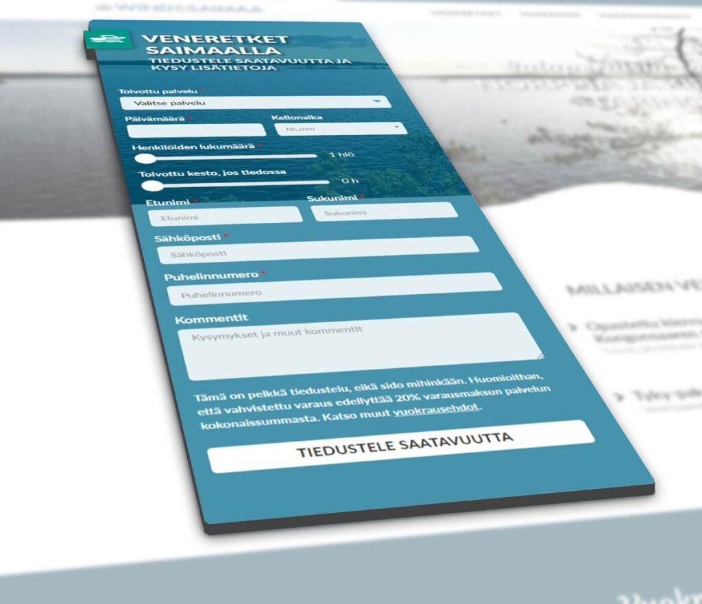 Strix Marketing - Wind of Saimaa verkkosivusuunnittelu, lomake